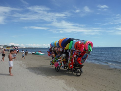 Inflatables for sale on the beach at Durres