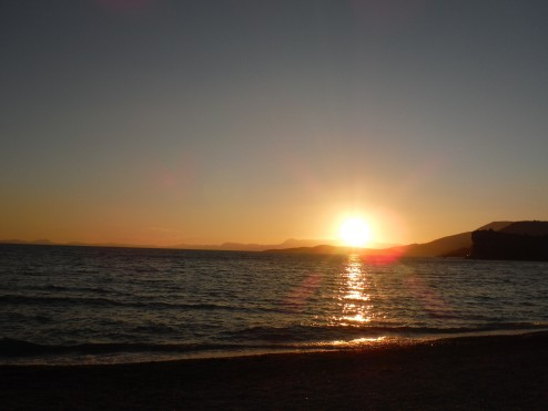 Sunset at camp, 12km from the Albanian border