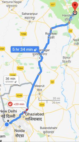 The route; Delhi to Rishikesh