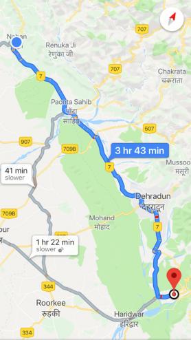 The route; Rishikesh to Nahan