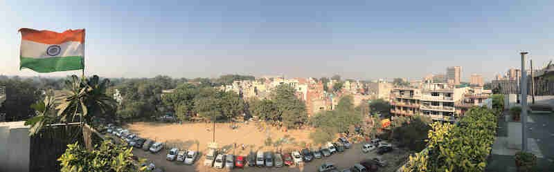 The view from our hostel in Mohammadpur Village, New Delhi