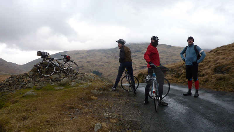 MashUp & District Cycling Club at the summit of Hardknott Pass in the Lake District