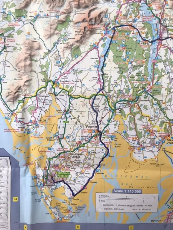 barrow in furness coast to coast cycle route map