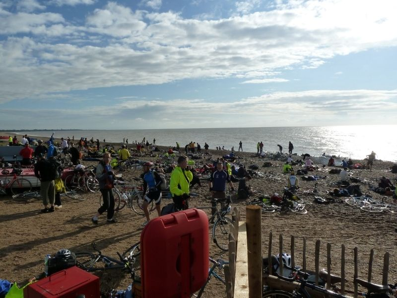 cyclists on the beach at the lost city of dunwich