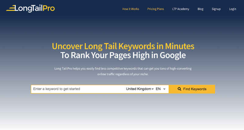 longtailpro for keyword research