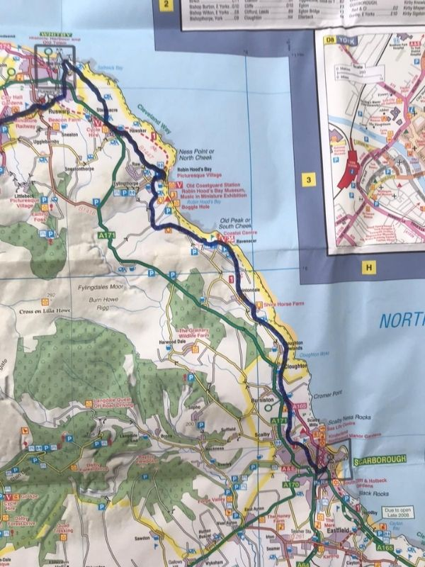 whitby to scarborough cinder path route map