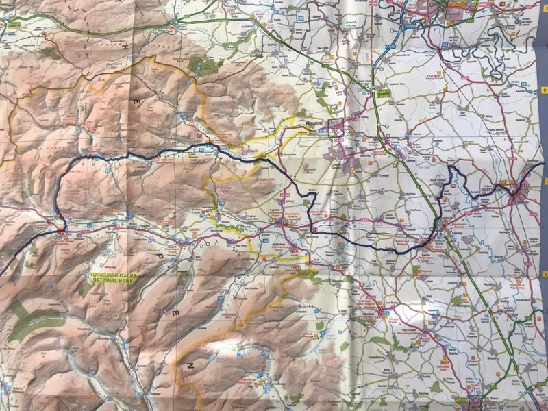 yorkshire dales national park coast to coast cycle route map