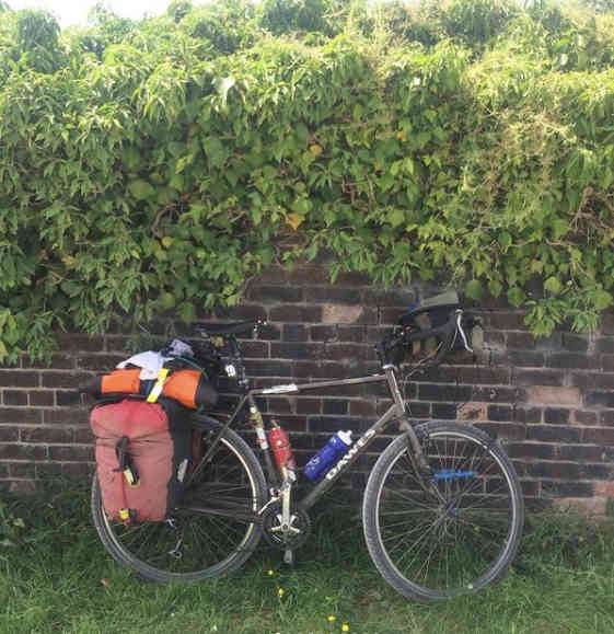dawes galaxy touring bike on the canal towpat in staffordshire