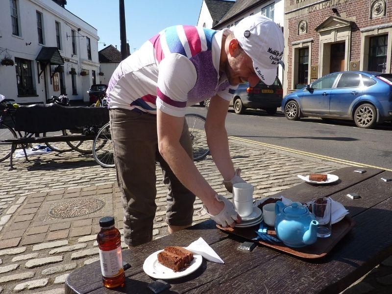 tea and scones during our bike ride around devon