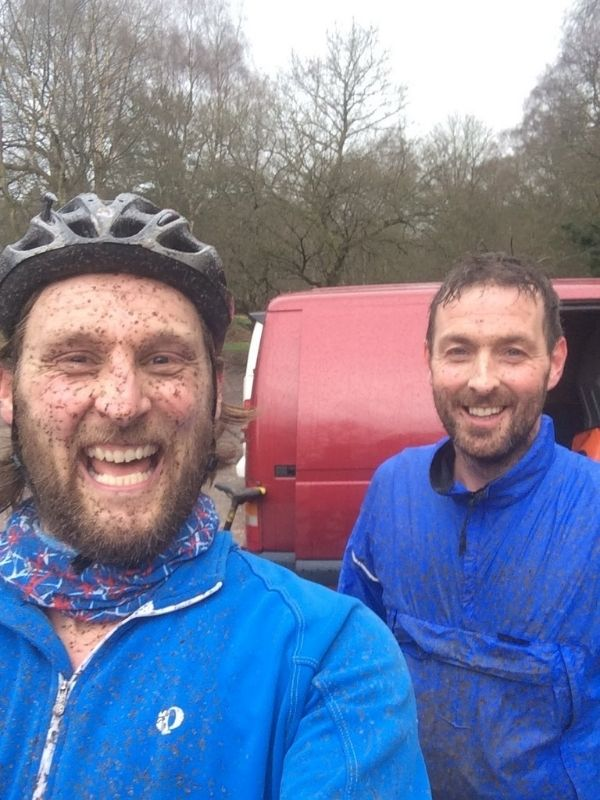 post ride banter at the birches valley car park at cannock chase